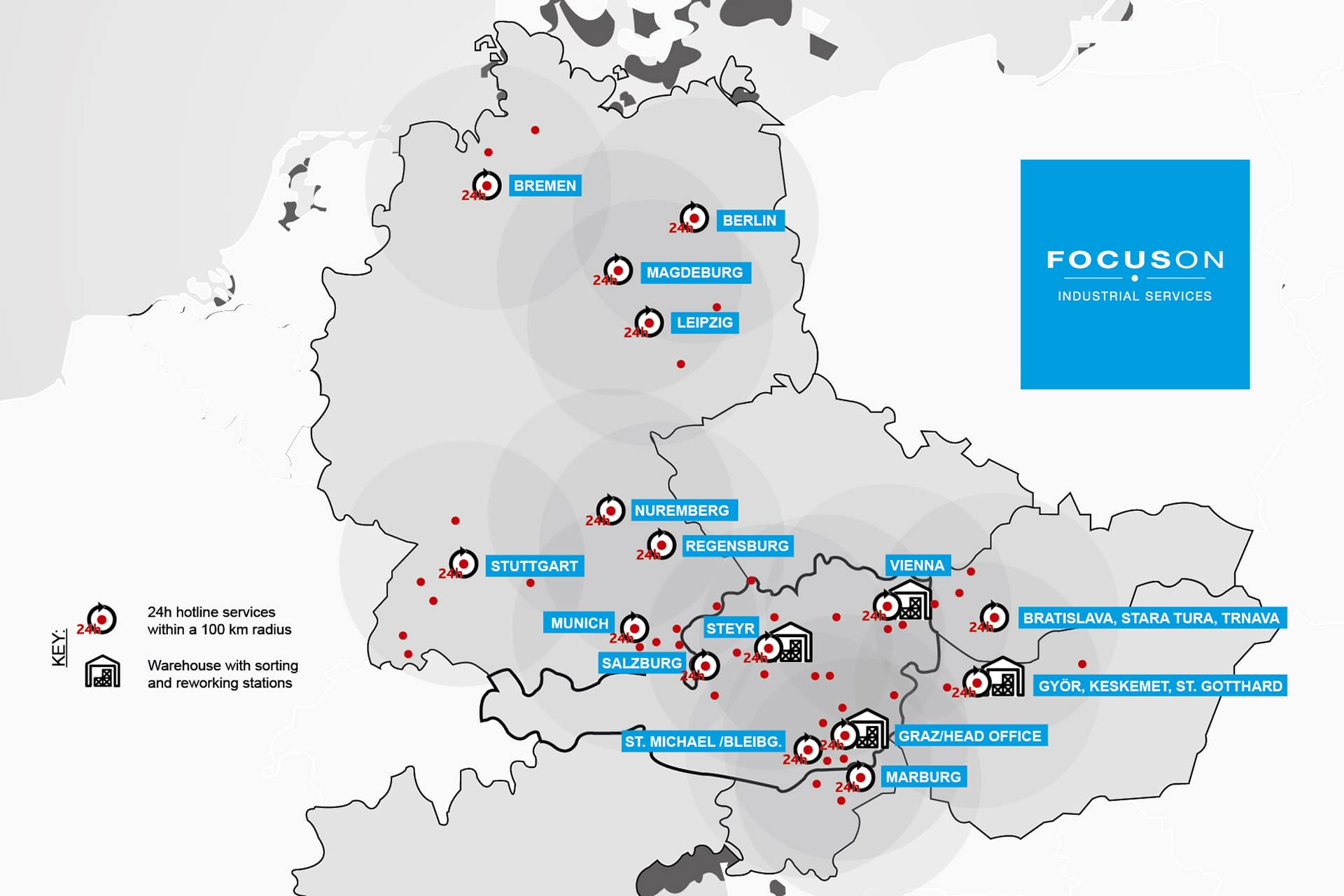 FOCUSON Industrial Services - Areas of Application and Locations